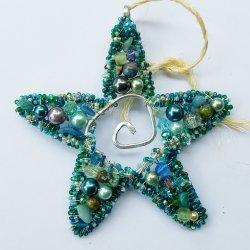 Center Spiral Blue Green Pearl Starfish