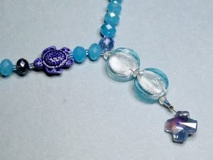 Faceted Blue Glass Artisan Anglican Rosary