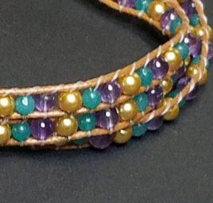 Mardi Gras Triple Wrap Bracelet
